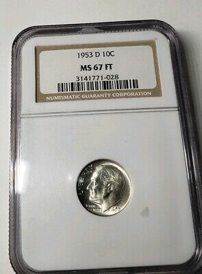LOW POP 1968 D MS67 FT NGC ROOSEVELT DIME BUSINESS 10c FULL TORCH