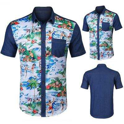 Men Short Sleeve Print Patchwork Button Pocket Casual T-Shirt GDY7