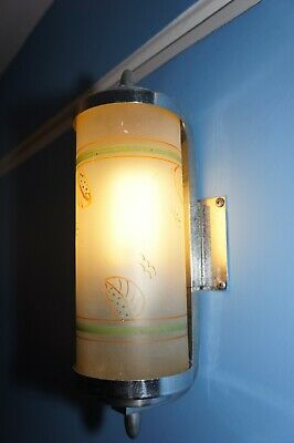 Authentic Vintage 1930s Art Deco Wall Light with hand painted Glass, and Chrome