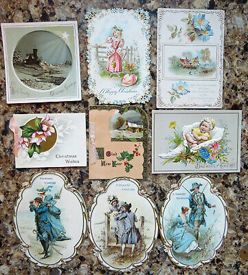 Lot Of 9 Antique Victorian Christmas Greeting Cards- Embossed- Baby- Lovers+