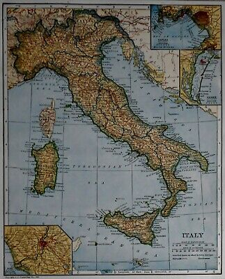 Antique 1923 Atlas Map Post World War WWI Italy, Rome, Naples & Australia L@@K!