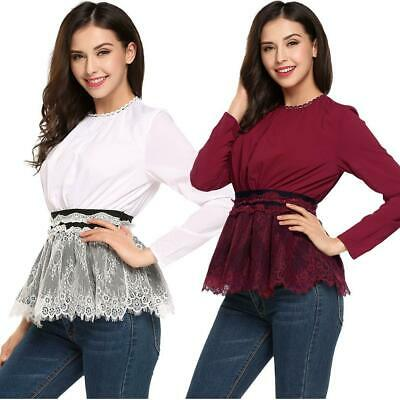 Women Long Sleeve Patchwork Lace Tunic Blouse Slim Casual OL Tops GDY7