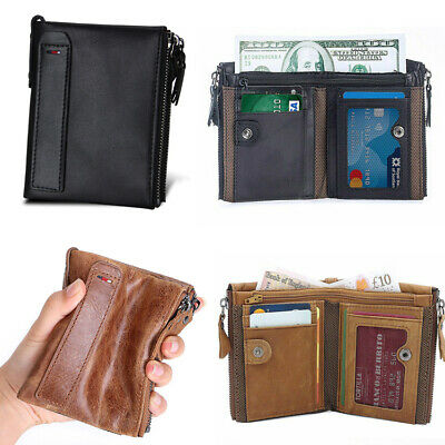 Mens Retro Wallet Small RFID Blocking Zip Leather Credit Card Holder Coin Purse