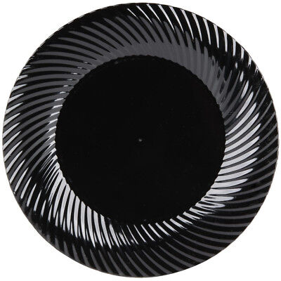 "(180-Pack) 6"" Black Round Scalloped Plastic Disposable Appetizer Dessert Plates"