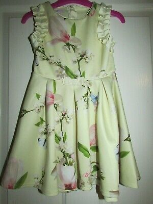 girls pretty yellow floral/butterfly/blossom dress from Ted Baker age 3-4yrs