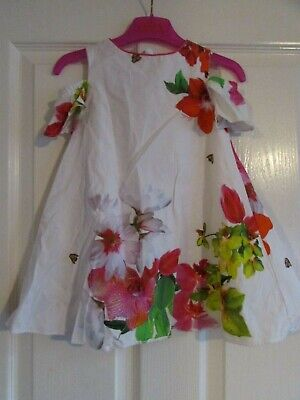 baby girls pretty white floral cold shoulder dress from Ted Baker age 18-24mths