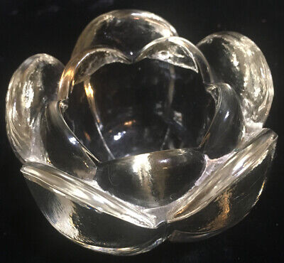 Lead Crystal LOTUS FLOWER Glass Votive Candle Holder Vintage Trinket Paperweight