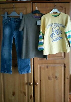 boys outfit long sleeve top, t-shirt and jeans incl.BNWT Next, George 4-5 years
