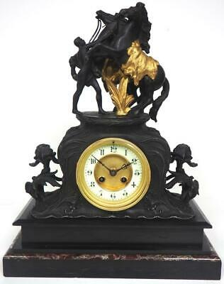 Antique French 8 Day Mantel Clock Slate & Marble Cased Marylebone Mantle Clock
