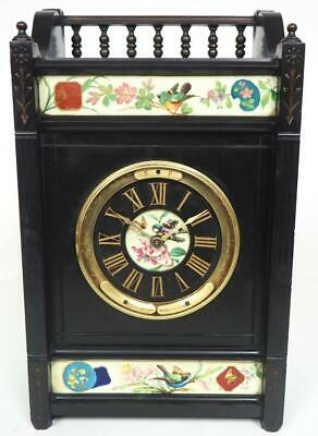 Antique French 8 Day Mantel Clock Slate & Enamel Panels Etienne Maxant Clock