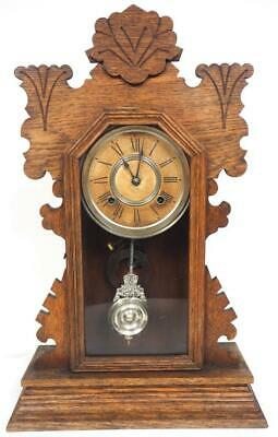 Ansonia Antique Oak Gingerbread Mantel Clock 8 Day Striking Mantle Clock C1900