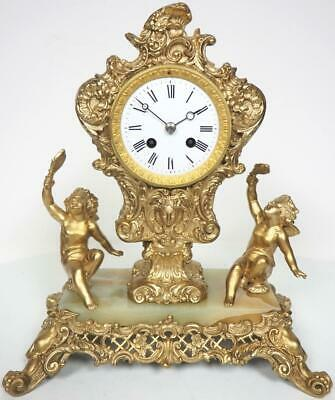 Rare French 8Day Mantel Clock Marble & Gilt Cherub Figural Striking Mantle Clock