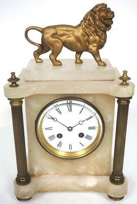 Fantastic French 8Day Mantel Clock Alabaster Cased Gilt Lion Figure Mantle Clock