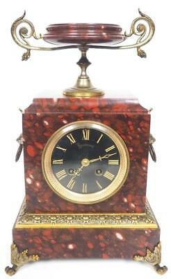 Incredible French 8 Day Mantel Clock Red Rouge Marble Cased Urn Top Mantle Clock