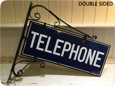 Vintage Enamel Telephone Sign - Wall Mounted - Double Sided - Circa 1930's