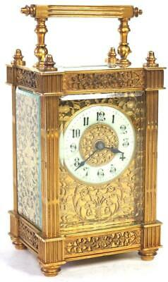 Antique French 8 Day Carriage Clock Floral Carved Masked Dial Mantel Clock 1890