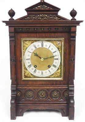 Antique Lenzkirch 8 Day Bracket Clock Ting Tang Quarter Striking Mantel Clock