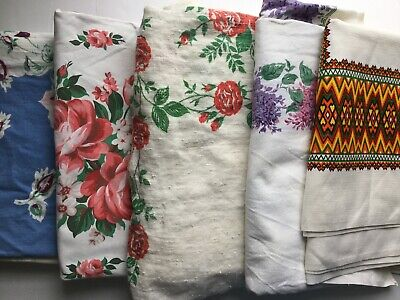 Lot Of 5 Cutter Vintage Printed Tablecloths - 011808
