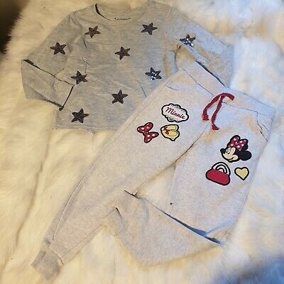 Girls 3-4 years Bundle star Top minnie mouse trousers joggers outfit Next Day