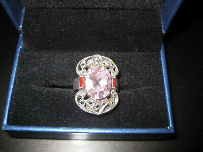 Estate Marcasite & Large Pink Crystal Sterling Silver Ring Sz 6 Red Crystal