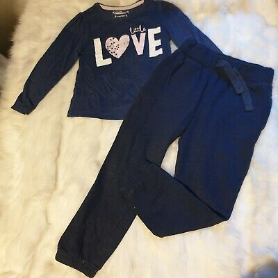 Girls 3-4 years Bundle love Top plain navy track trousers joggers outfit Next
