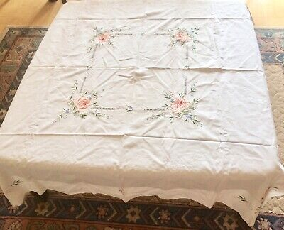 Vintage Embroidered Tablecloth - 130 x 125 cm - Roses - Unused