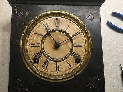 "Antique Ansonia ""Unique"" Black Enameled Metal Case Ca.1882 Mantel Clock"