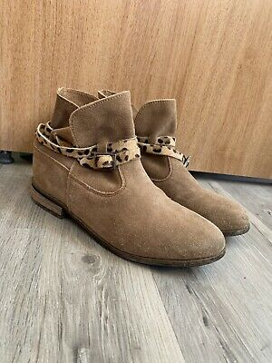 Next Girls Suede Boots With Leopard Print Buckle Size 3