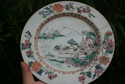 18th Century Antique Chinese Porcelain Hand Painted Landscape Picture Plate