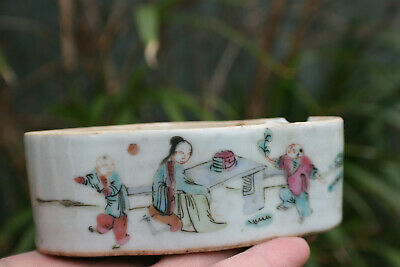 Antique Chinese Porcelain Hand Painted Small Box Holder