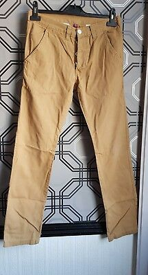 Denim & Co Beige Button Fly Chino Trousers 28 Waist Leg 30