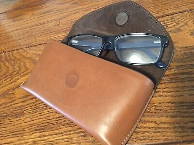 Aspinal Of London Glasses Case Cognac Brown Leather / suede lining