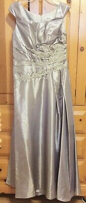 Mother of Bride Gown Formal Dress Cap Sleeves A-Line Lace Taffeta Silver 10, 8