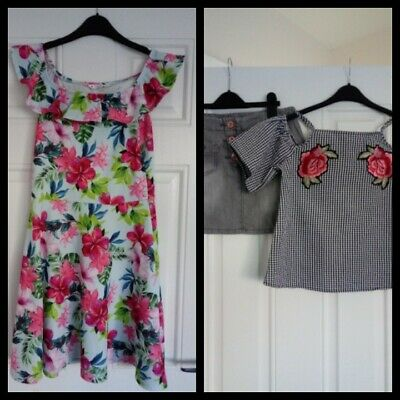 Girls Outfits Next Skirt, Primark top And Matalan Dress 12-13 Years