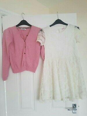 Girls outfit Next Cardigan and Peacocks lace Dress 11-12 Years
