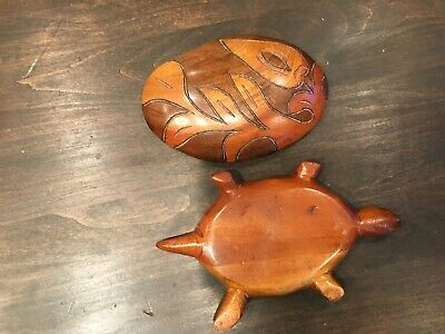 Wooden Carved Turtle Wood Box Trinket Removable Lid Folk Art Storage Figural