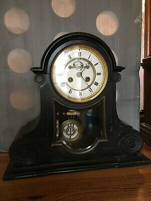 Antique French Slate Mantle Clock with Visible Escapement and Ellicott Pendulum.