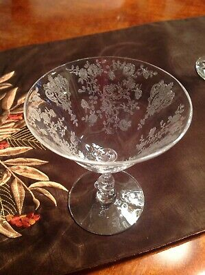 """8 Vintage Mint """"Cambridge Rose Point"""" Clear Etched Crystal Low Sherbet Glasses"""