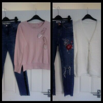 Girls bundle Next Jumper/Denim Co Jeans & Embroiled jeans/Nutmeg cardigan 11-12