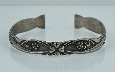 Chinese Export Silver Cuff Bangle Bracelet Antique Vintage Sterling Flowers Old