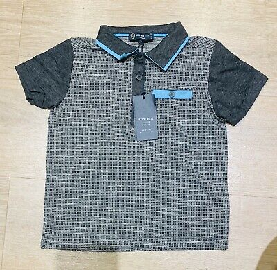 Howick Boys Polo T-Shirt Grey And Blue Age 3-4 Years