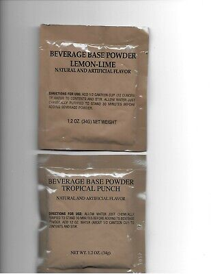 80 Military Surplus MRE (Meals Ready to Eat) Lemon-Lime, Punch POWDER BEVERAGES