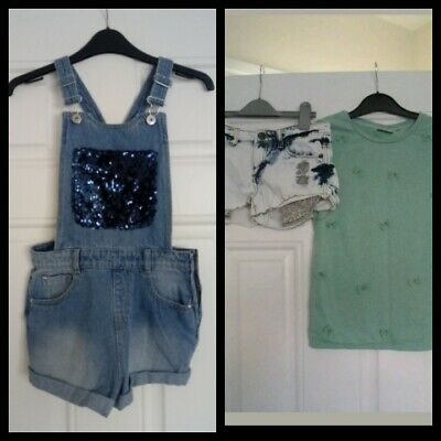 Girls Outfit Next Top and Denim Co Shorts and George short dungarees 10-11 Years