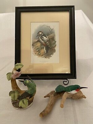 Woodpecker And Two Hummingbirds, Thorburn Picture And Simon Figurine