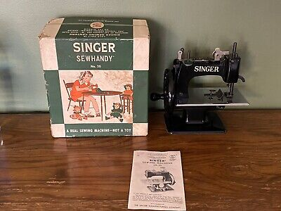 Vintage Singer Sewhandy Model No.20 Kids Real Sewing Machine W/Box Made In U.s.a