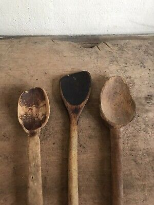 3 Old Antique Large Handmade Wooden Spoons Dark Patina Primitive AAFA Worn