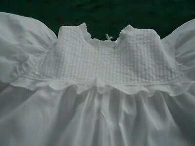 Antique White Long Cotton Baby Dress With Tucks & White Embroidery, Vintage 1900
