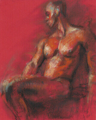 SEATED MALE NUDE Expressive Drawing Naked Man RED Pastel Painting Day MODERN ART
