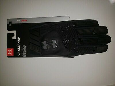 Under Armour Heat gear, Adult Clean Up baseball Batting Gloves. Black size large