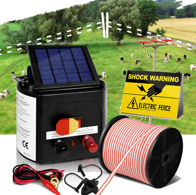 NEW 3km Solar Power Electric Fence Charger Kit Farm Fencing Insulator Tape Sign